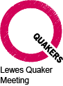 Pink Q logo with Lewes Quaker Meeting underneath