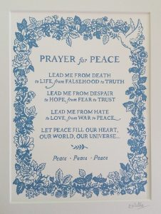 The poem 'A prayer for peace' illustrated with plants and peace doves